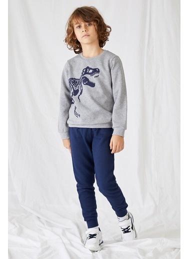 DeFacto Erkek Çocuk  Baskılı Sweatshirt ve Eşofman Takım Gri